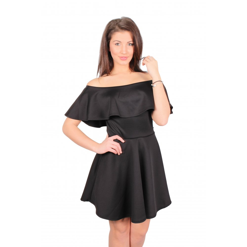 890811cacc Tori Black Off The Shoulder Frill Skater Dress From Parisia
