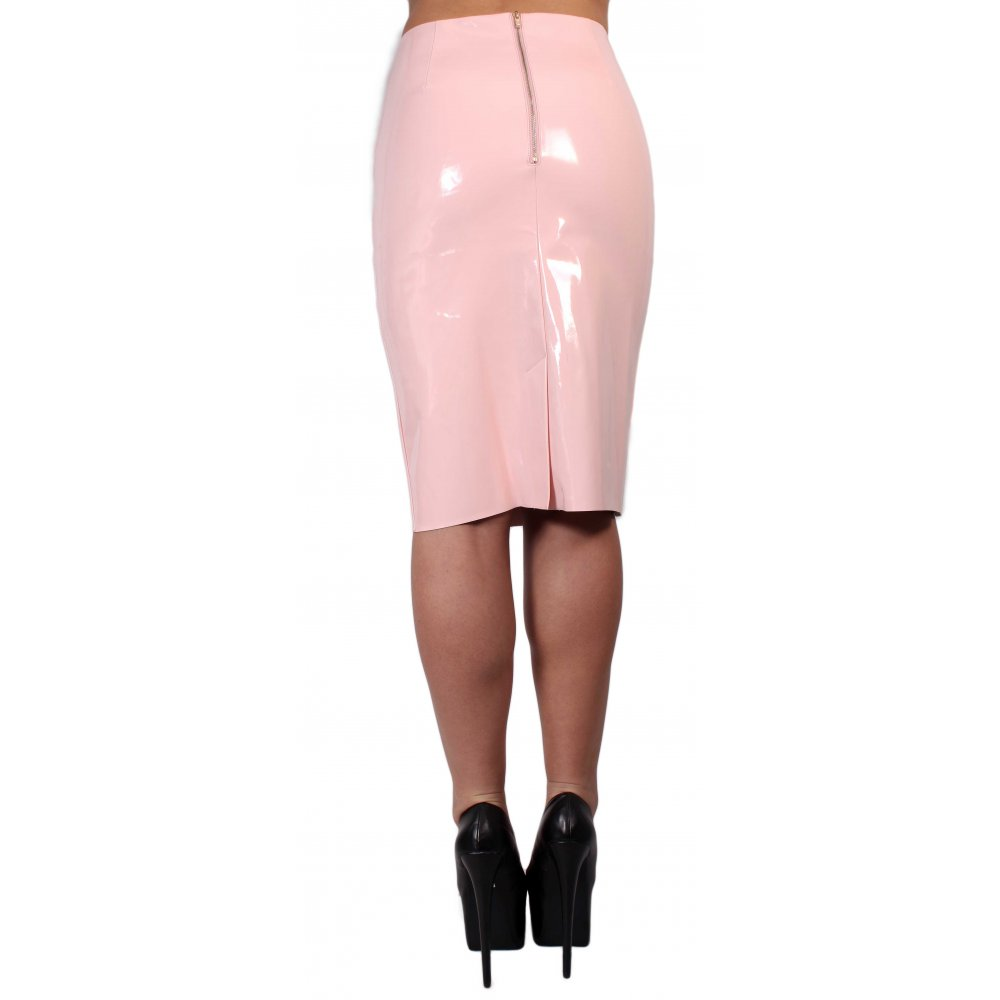 Torri Pink PVC Leather Pencil Skirt From Parisia