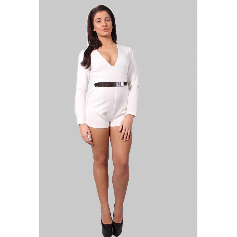 a5f403cfb50e Tyler White Deep V-neck Playsuit With Gold Belt - Parisia Fashion