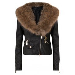 Vicky Black Leather Brown Faux Fur Collar Jacket