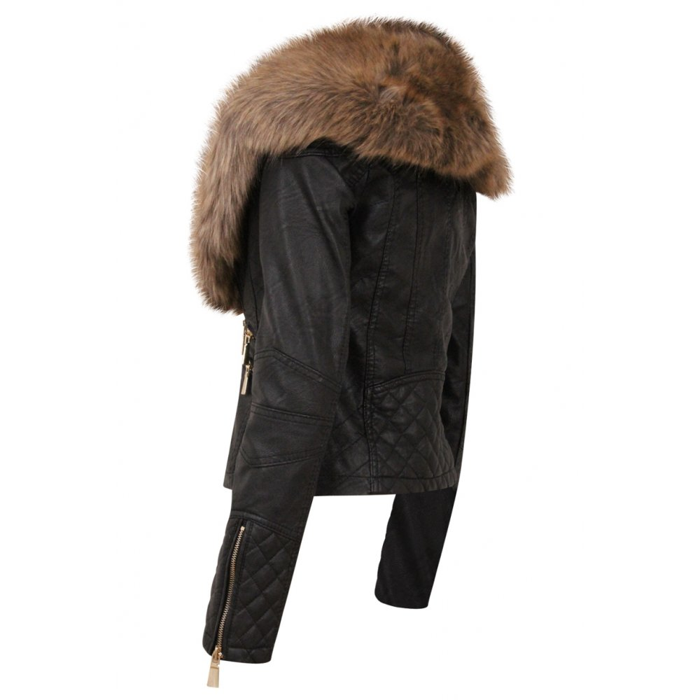 black faux fur leather jacket | Gommap Blog
