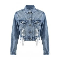 Washed Denim Blue Cropped Lace Up Denim Jacket