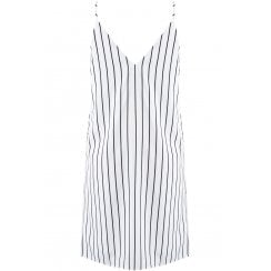 White And Black Striped Cami Spaghetti Strap Dress