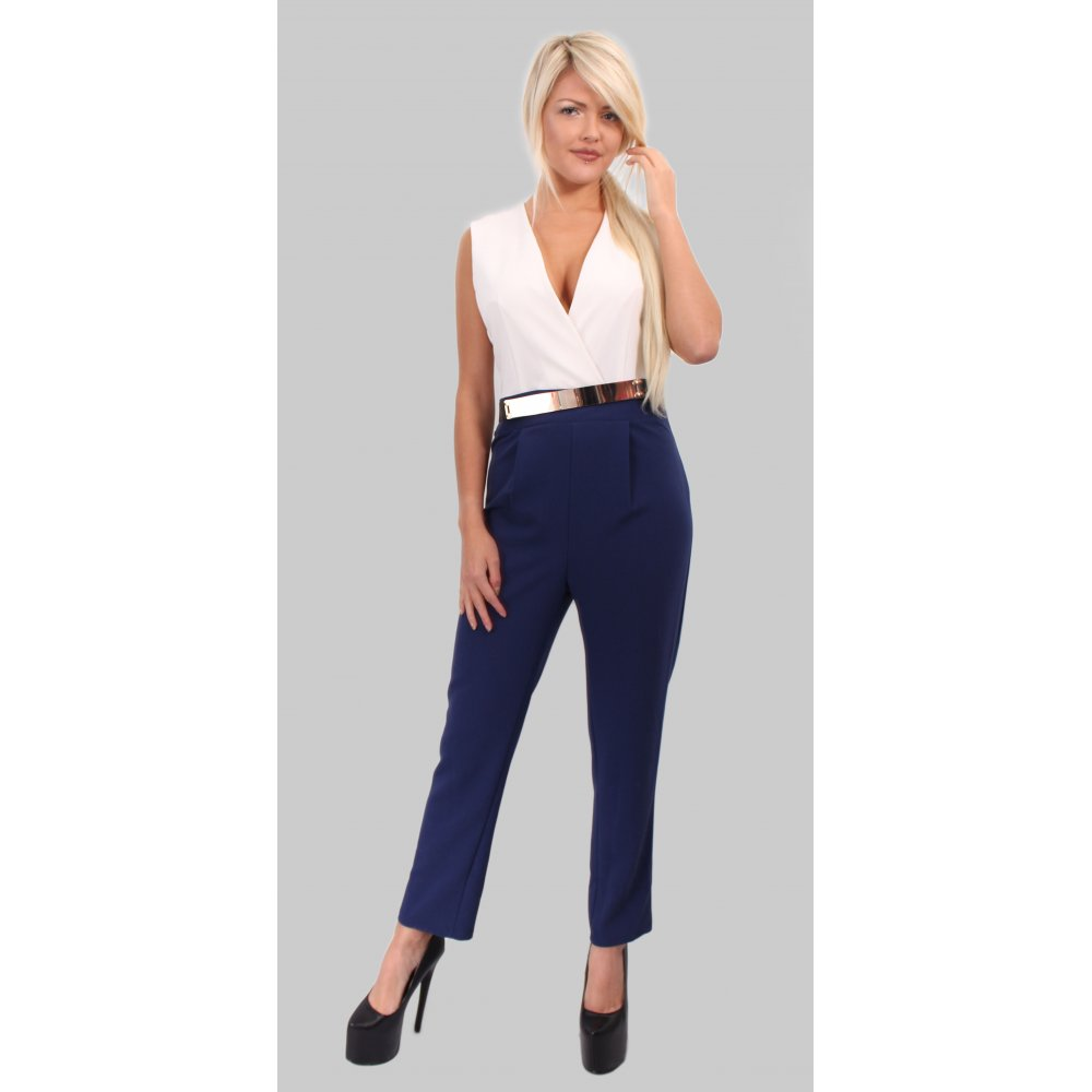 Navy Blue And White Jumpsuit | Fashion Ql