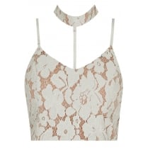 White And Nude Under Lay Floral Choker Neck Bralet Top