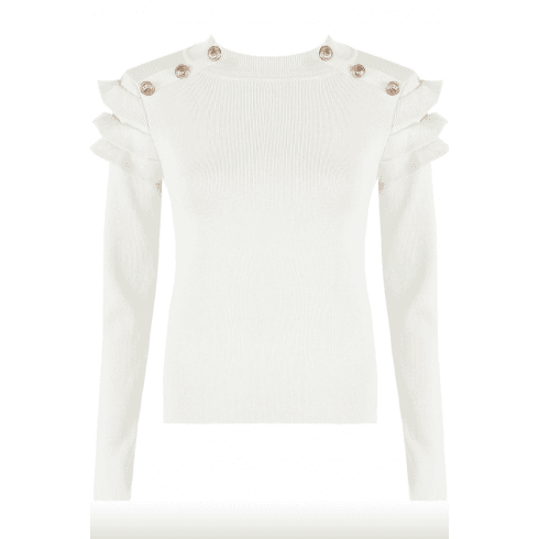 White Button Frill Sleeve Ribbed Jumper
