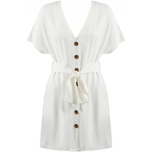 White Button Up Waist Belt Tie Plunge Neck Dress