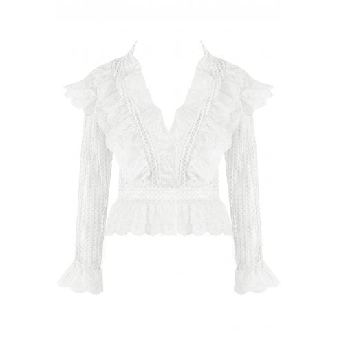White Crochet Lace Mesh Floral Frilled Low Plunge Neckline Top