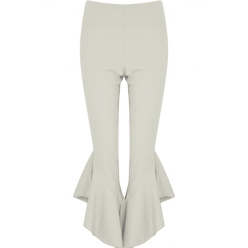 White Draped Frill Hem Cigarette Leg Trousers