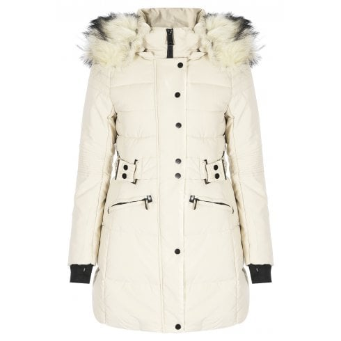 White Faux Fur Hood Long Zip Up Padded Puffer Coat