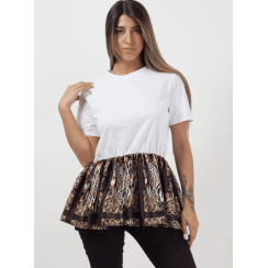 White Frill Skater Pattern Print Hem Short Sleeve Top
