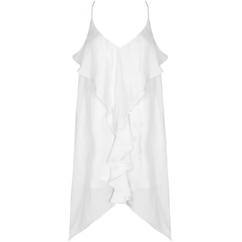 White Front Ruffle Open Slit Back Shift Dress