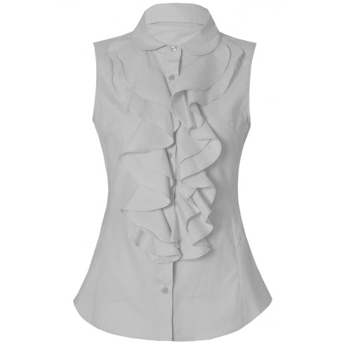White Front Ruffle Sleeveless Collared Shirt