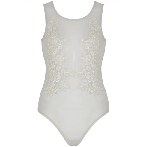 White Full Mesh Beaded Lave Floral Detail Bodysuit