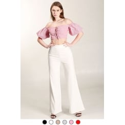 White High Waist Wide Leg Trousers