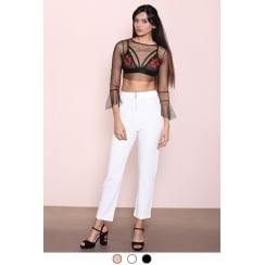 White High Waist Zip Up front Trousers
