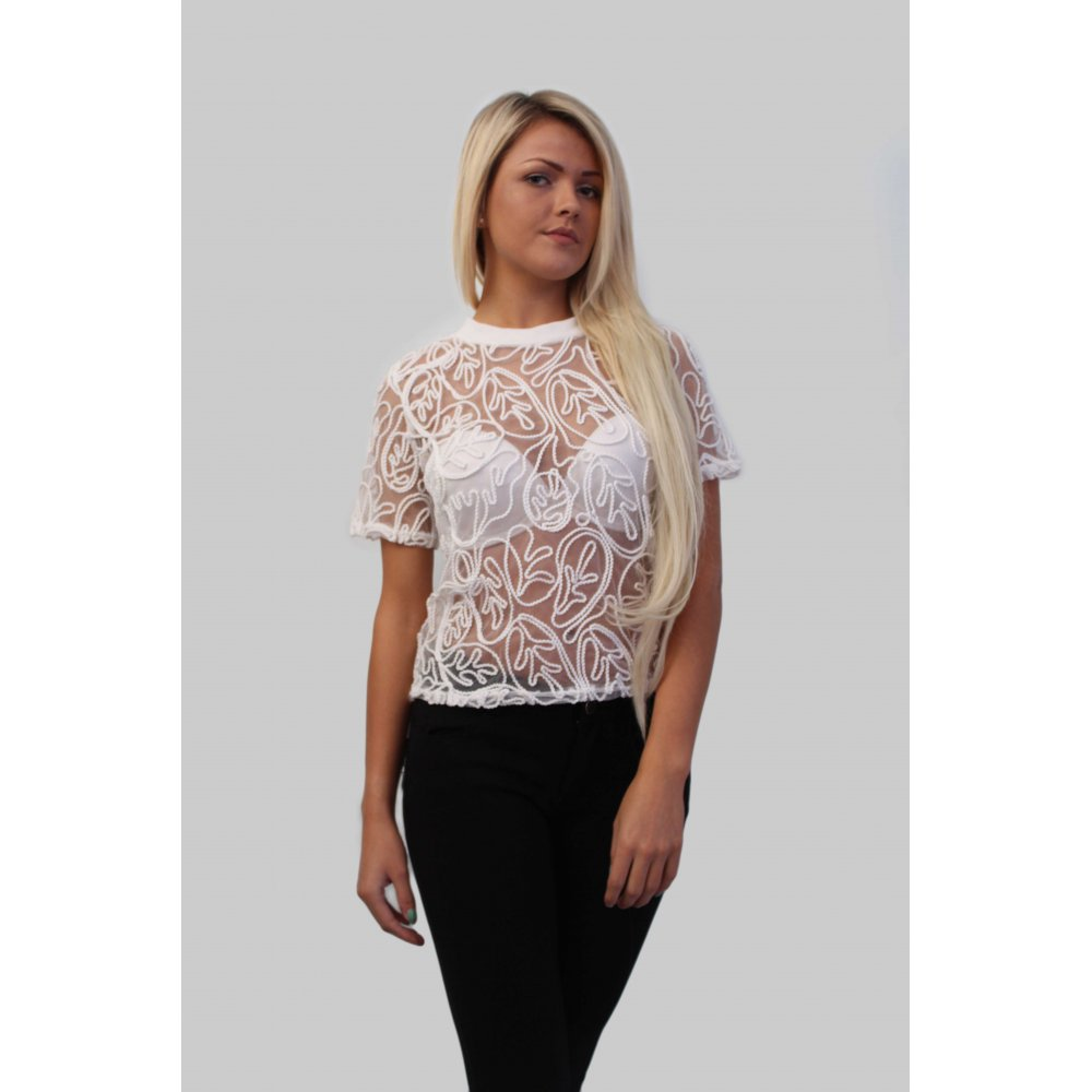 725b416cde White Lace Sheer Embroidered Top From Pariisa