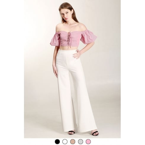 White Long High Waist Wide Leg Trousers
