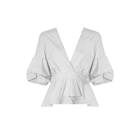 White Low Plunge Cross Over Pleated Top