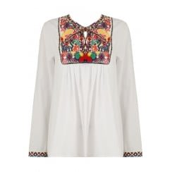White Multi Coloured Patterned Pom Pom Tie Blouse
