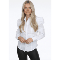 White Pleated Shoulder Ruched Waist Fitted Collared Long Sleeve Shirt