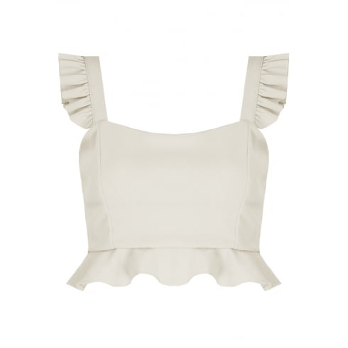 White Pleated Strap Side Zip Crop Top