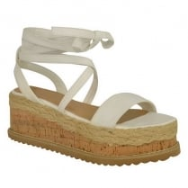 White PU Leather Tie Up Lace Wedge Sandals