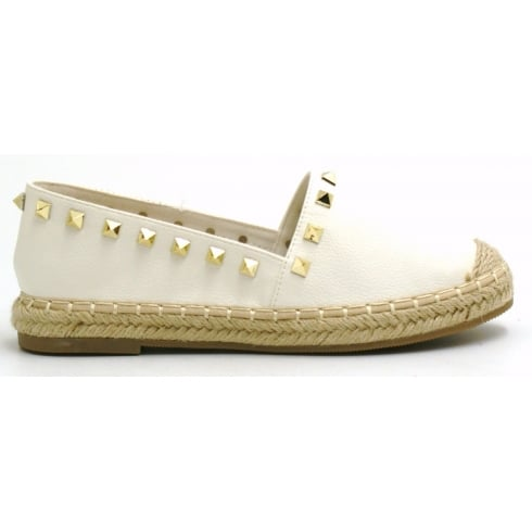 White PU Leather Woven Look Sole Gold Studded Casual Shoes