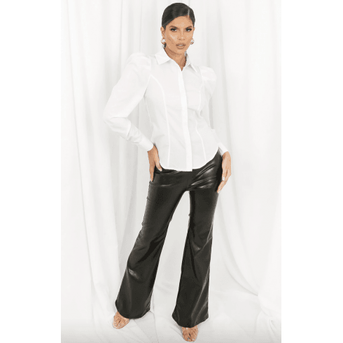 White Puff Shoulder Fitted Shirt