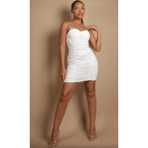 White Ruched Bodycon Dress