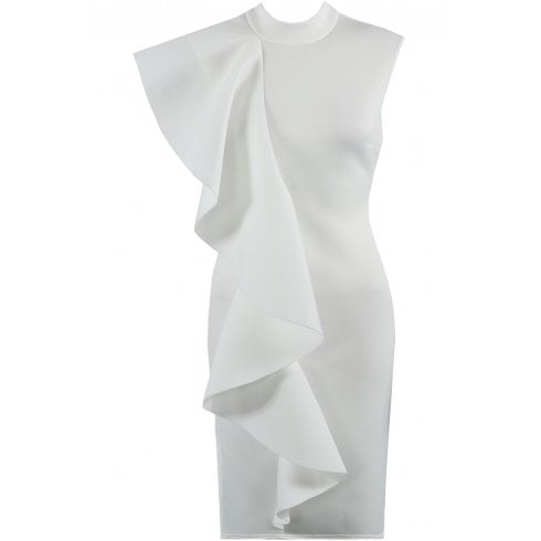 White Side Ruffle High Neck Sleeveless Bodycon Midi Dress