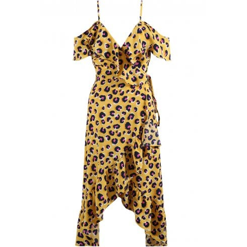 Yellow Long Cut Out Shoulder Pink Leopard Print Spot Wrap Dress